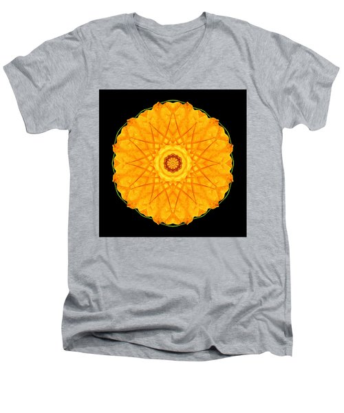 Men's V-Neck T-Shirt featuring the photograph Orange Nasturtium Flower Mandala by David J Bookbinder