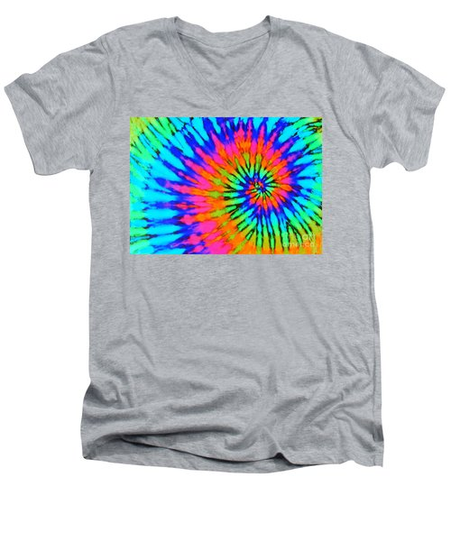 Orange Pink And Blue Tie Dye Spiral Men's V-Neck T-Shirt by Catherine Sherman