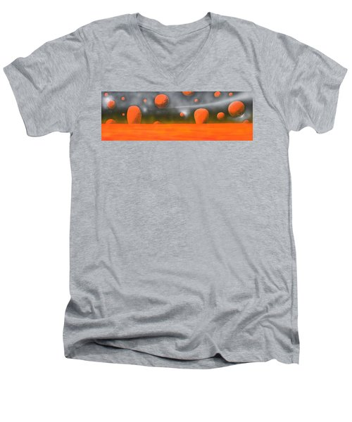 Men's V-Neck T-Shirt featuring the painting Orange Planet by Tim Mullaney