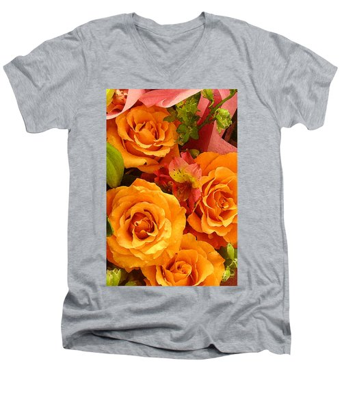 Orange Roses Men's V-Neck T-Shirt
