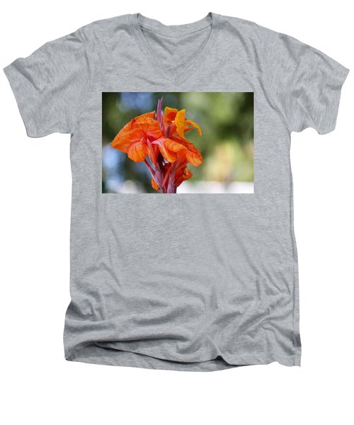 Orange Ruffled Beauty Men's V-Neck T-Shirt