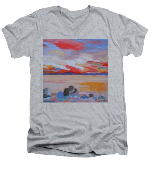 Men's V-Neck T-Shirt featuring the painting Orange Sunset by Francine Frank