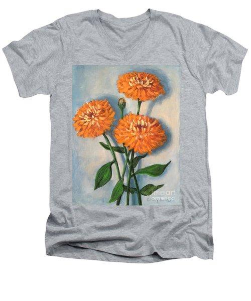 Men's V-Neck T-Shirt featuring the painting Orange Zinnias by Randol Burns