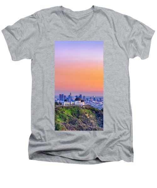 Orangesicle Griffith Observatory Men's V-Neck T-Shirt