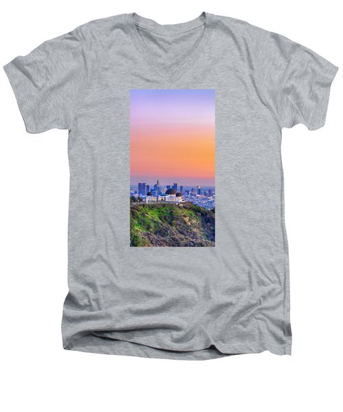 Orangesicle Griffith Observatory Men's V-Neck T-Shirt