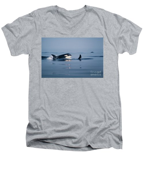Men's V-Neck T-Shirt featuring the photograph Orcas Off The San Juan Islands Washington  1986 by California Views Mr Pat Hathaway Archives