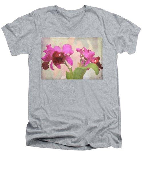Orchid In Hot Pink Men's V-Neck T-Shirt