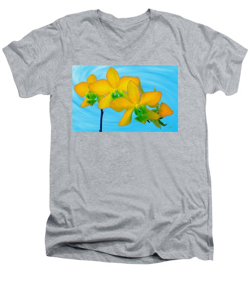 Orchid In Yellow Men's V-Neck T-Shirt