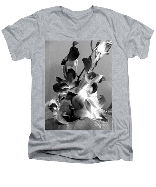 Orchids 2 Bw Men's V-Neck T-Shirt by Barbara Griffin