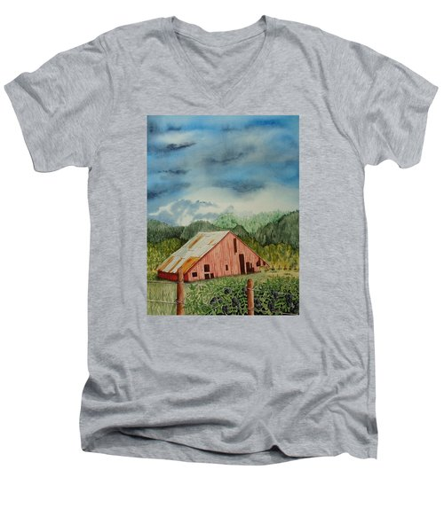 Men's V-Neck T-Shirt featuring the painting Oregon Barn by Katherine Young-Beck