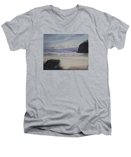 Men's V-Neck T-Shirt featuring the painting Oregon Coast by Ian Donley