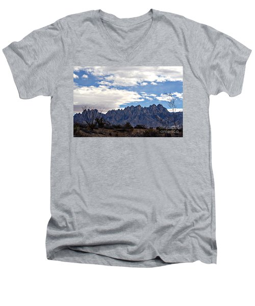 Men's V-Neck T-Shirt featuring the photograph Organ Mountain Landscape by Barbara Chichester
