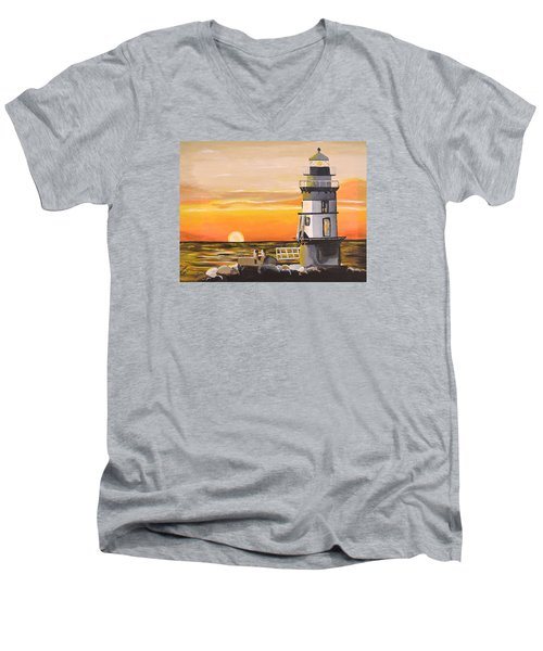 Orient Point Lighthouse Men's V-Neck T-Shirt