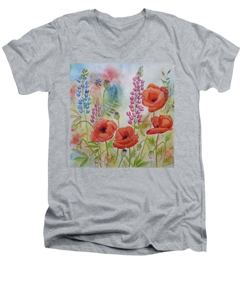 Men's V-Neck T-Shirt featuring the painting Oriental Poppies Meadow by Carla Parris