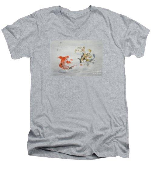 Original Animal  Oil Painting Art- Goldfish Men's V-Neck T-Shirt by Hongtao     Huang