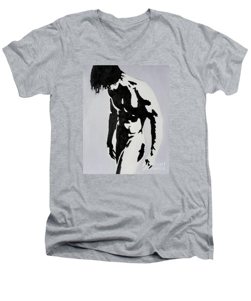 Original Black An White Acrylic Paint Man Gay Art -male Nude#16-2-4-17 Men's V-Neck T-Shirt