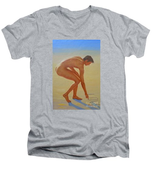 Original  Young Man Body Oil Painting  Gay Art - Male Nude By The Sea-055 Men's V-Neck T-Shirt