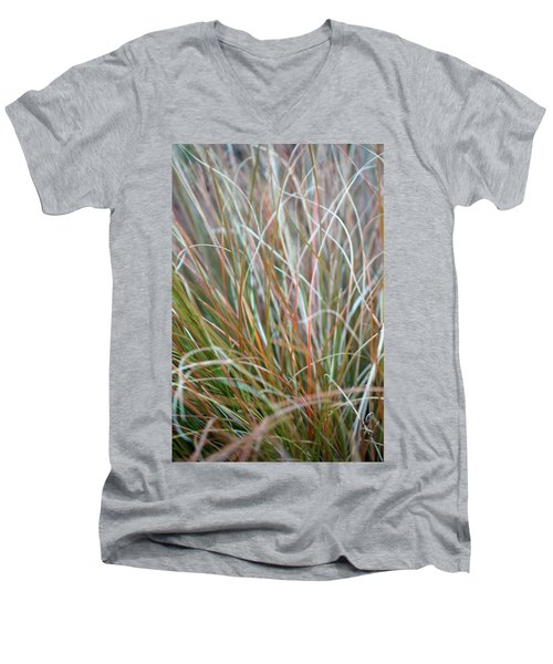 Ornamental Grass Abstract Men's V-Neck T-Shirt by E Faithe Lester