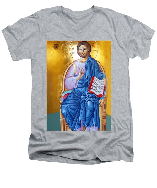 Orthodox Icon Of Jesus In Blue Men's V-Neck T-Shirt