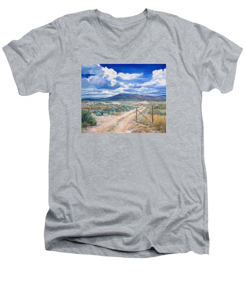 Osceola Nevada Ghost Town Men's V-Neck T-Shirt by Donna Tucker