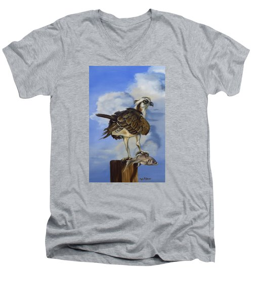 Men's V-Neck T-Shirt featuring the painting Osprey And A Mullet by Phyllis Beiser