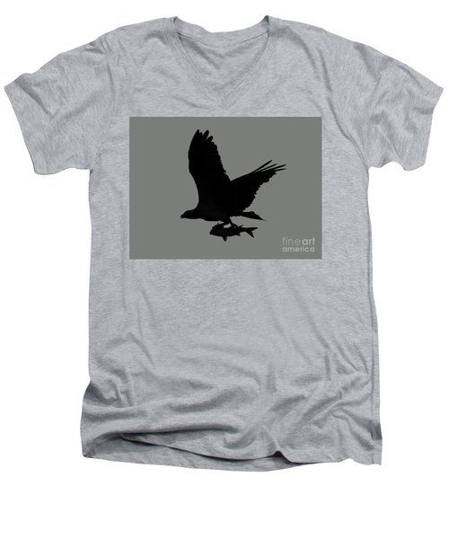 Men's V-Neck T-Shirt featuring the photograph Osprey With A Fish Photo by Meg Rousher