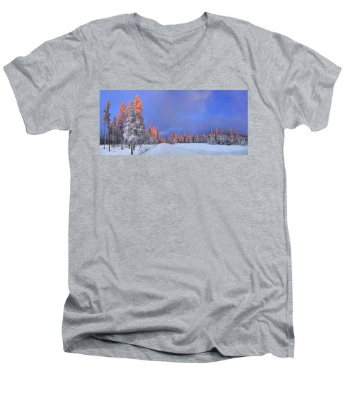 Other Side Of A Winter Sunset Men's V-Neck T-Shirt by David Andersen