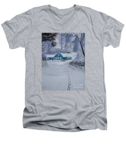 Men's V-Neck T-Shirt featuring the painting Our Little Cabin In The Snow by Ian Donley