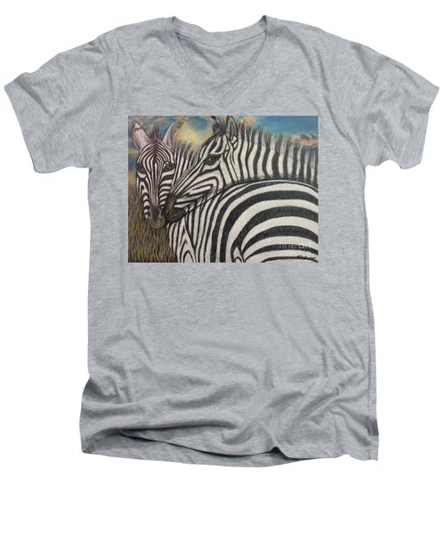 Our Stripes May Be Different But Our Hearts Beat As One Men's V-Neck T-Shirt by Kimberlee Baxter