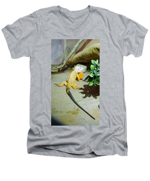 Out Of Africa Orange Lizard 2  Men's V-Neck T-Shirt