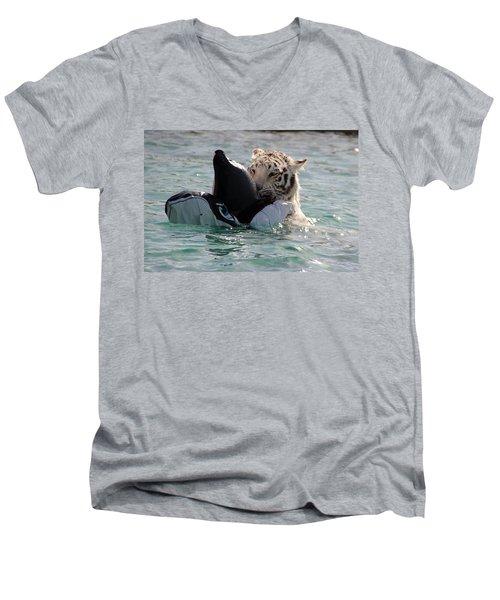 Out Of Africa Tiger Splash 4 Men's V-Neck T-Shirt