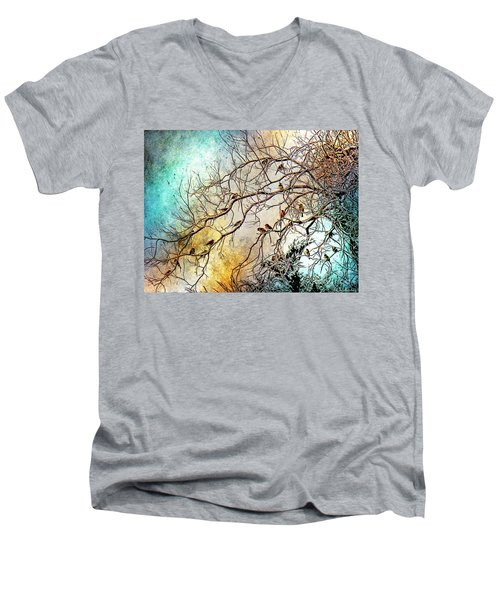 Out On A Limb In Jewel Tones Men's V-Neck T-Shirt