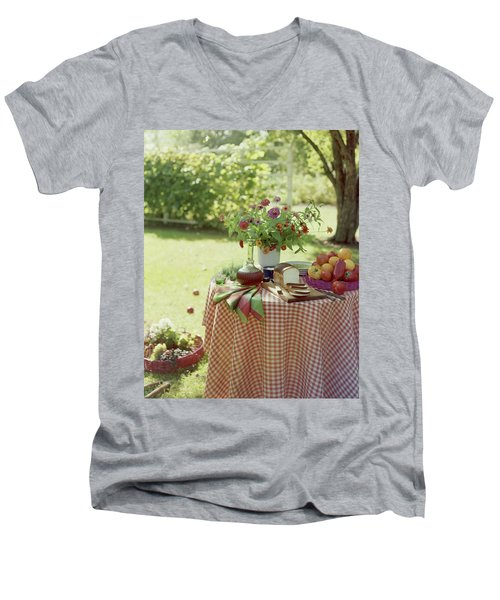 Outdoor Lunch In The Shade Of A Tree Men's V-Neck T-Shirt