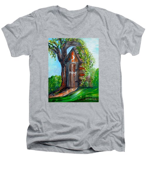 Men's V-Neck T-Shirt featuring the painting Outhouse - Privy - The Old Out House by Eloise Schneider