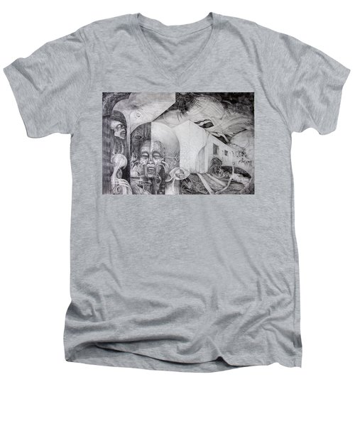 Men's V-Neck T-Shirt featuring the drawing Outskirts Of Necropolis by Otto Rapp
