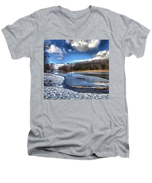 Men's V-Neck T-Shirt featuring the photograph Over Da River N Thru Da Woods by Robert McCubbin