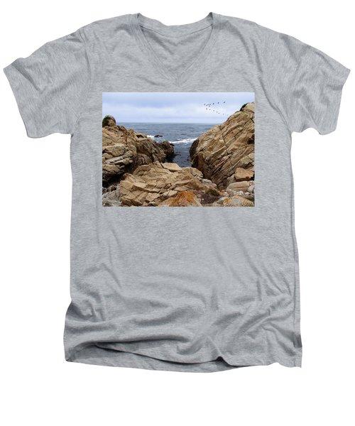 Overcast Day At Pebble Beach Men's V-Neck T-Shirt