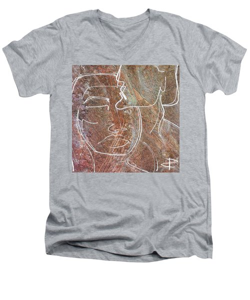 Men's V-Neck T-Shirt featuring the drawing Overlaps II by Paul Davenport