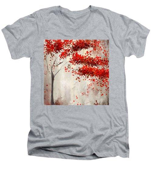 Owl In Autumn Men's V-Neck T-Shirt