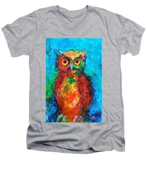 Men's V-Neck T-Shirt featuring the painting Owl In The Night by Faruk Koksal