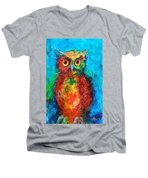 Owl In The Night Men's V-Neck T-Shirt by Faruk Koksal