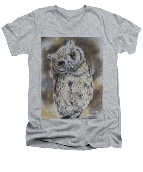 Owl Men's V-Neck T-Shirt by Laurianna Taylor