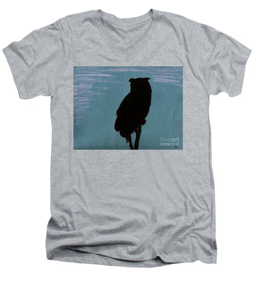 Men's V-Neck T-Shirt featuring the drawing Owl Silhouette by D Hackett