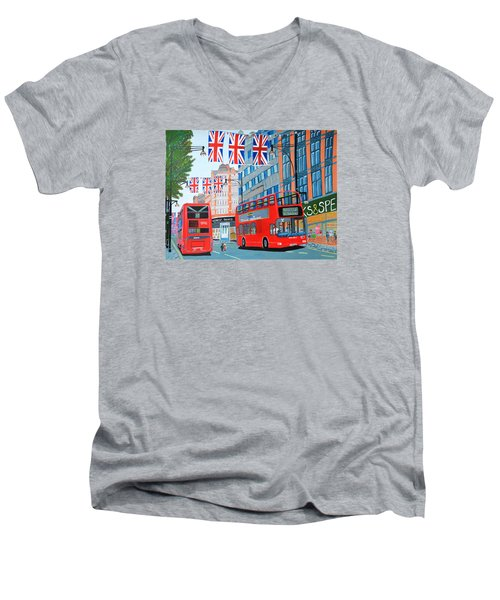 Men's V-Neck T-Shirt featuring the painting Oxford Street- Queen's Diamond Jubilee  by Magdalena Frohnsdorff