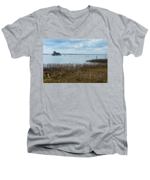 Oyster Shack And Tall Grass Men's V-Neck T-Shirt by Photographic Arts And Design Studio