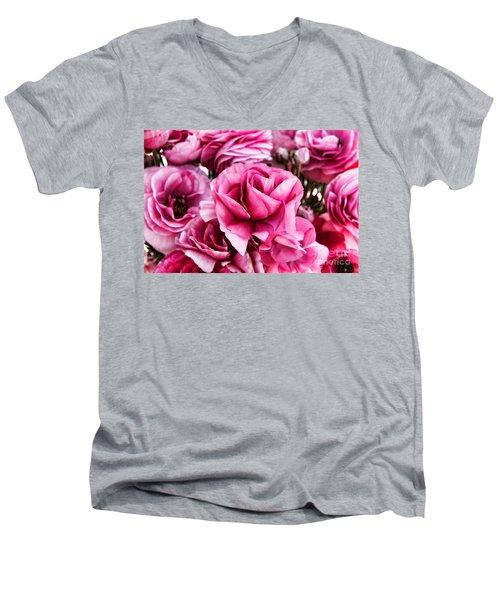 Paint Me Pink Ranunculus Flowers By Diana Sainz Men's V-Neck T-Shirt