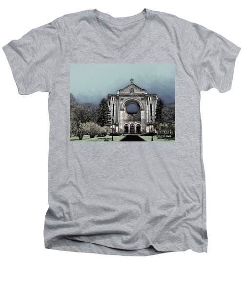 Men's V-Neck T-Shirt featuring the digital art Painted Basilica 2 by Teresa Zieba