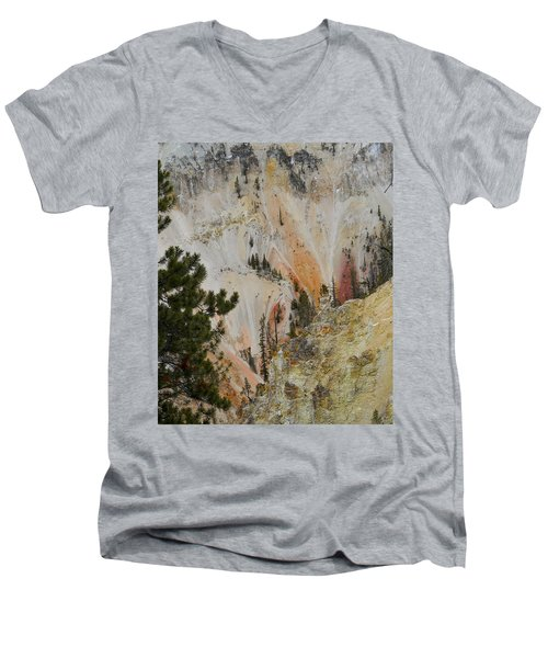 Painted Canyon At Lower Falls Men's V-Neck T-Shirt by Michele Myers