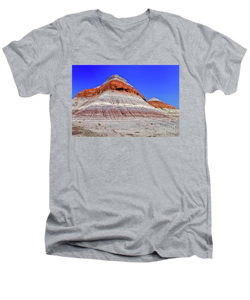 Men's V-Neck T-Shirt featuring the photograph Painted Desert National Park by Bob and Nadine Johnston