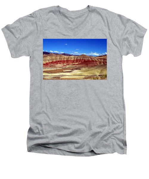 Men's V-Neck T-Shirt featuring the photograph Painted Hills by Chalet Roome-Rigdon